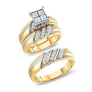Diamond Engagement Rings Set Wedding Bands Yellow Gold Men