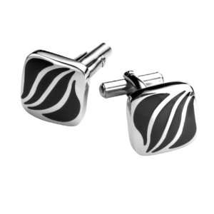 Mens Stainless Steel Contemporary Cufflinks Jewelry (Silver Black