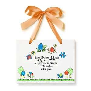 Birth Certificate Hand Painted Tile   Orange Turtles Toys & Games