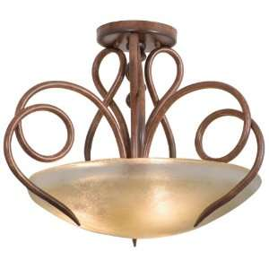 Wrought Iron Semi Flush Ceiling Light from the Tribecca Collection