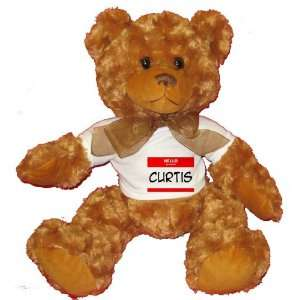 HELLO my name is CURTIS Plush Teddy Bear with WHITE T