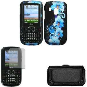 iFase Brand LG 500G Combo Blue Flower Protective Case Faceplate Cover