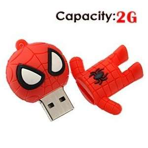 2G Small Cartoon Spider Man Shape Rubber USB Flash Drive