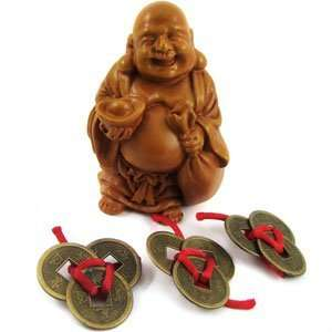 Teracotta look Buddha of Wealth (with Chinese Coins with