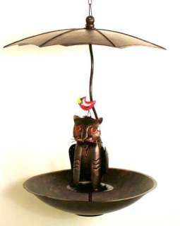 Copper Umbrella Cat Cardinal Bird Feeder Yard Decor