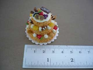 Tier Orange Cake Fruit Topped Dollhouse Miniatures Food Supply Deco