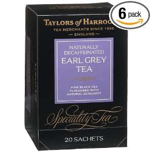 Black Tea, Decaffeinated Earl Grey Tea, 20 Count Wrapped Tea Bags