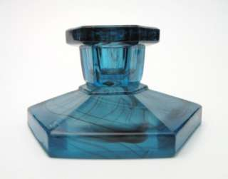 1930s ART DECO BLUE CLOUD GLASS CANDLE HOLDER DAVIDSON ENGLAND