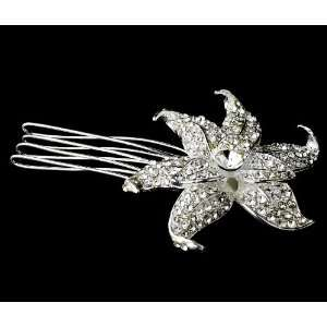 Lovely Silver Clear Rhinestone Flower Hair Comb Jewelry